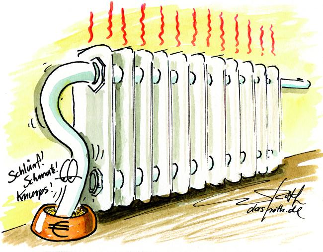 Cartoon/Karikatur: Heizung Geldfresser Nebenkosten