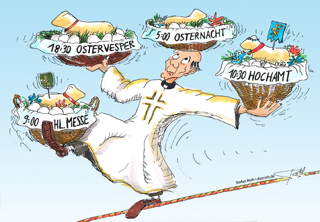 Priester auf Seil