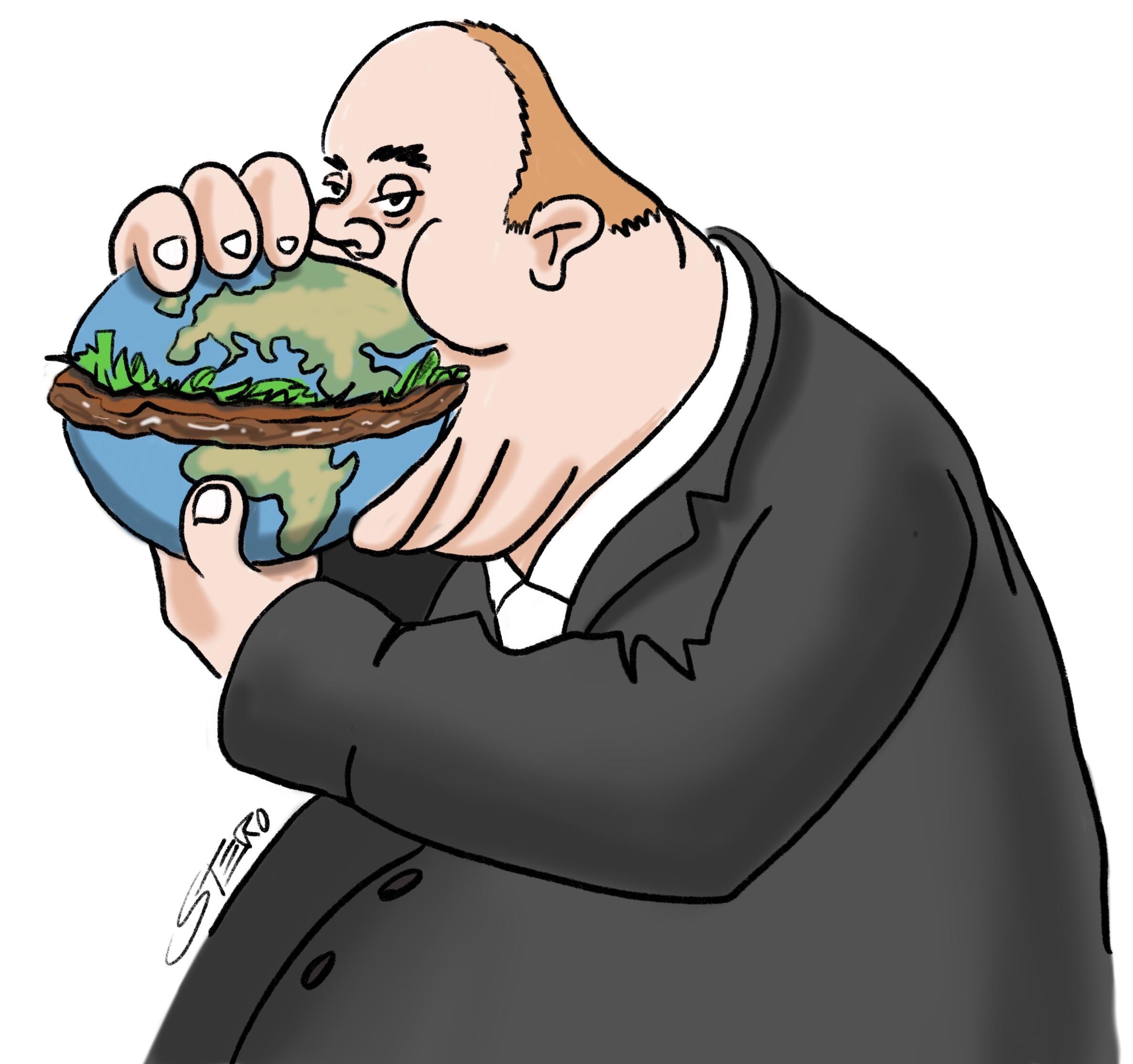 Cartoon. Dicker mann isst einen burger