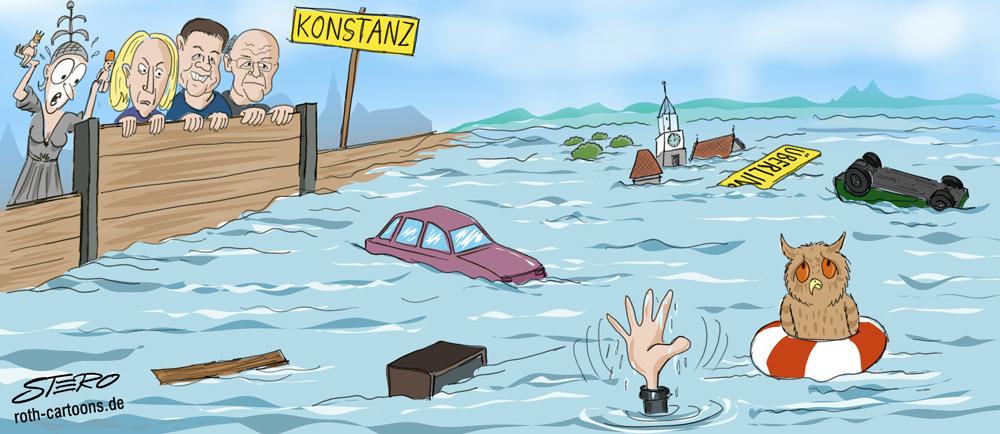 CArtoon Überwschwemmung Hochwasser