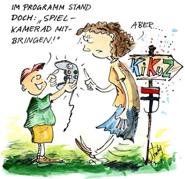 Cartoon Kind mit Spielkonsole als Spielkamerad