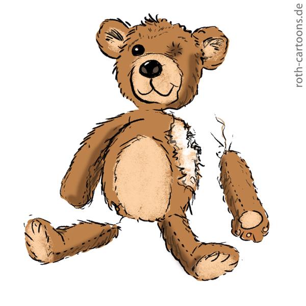 illustration kaputter teddybär
