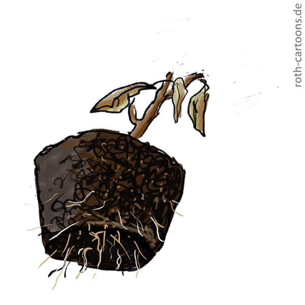 Iillustration verwelkte topfpflanze