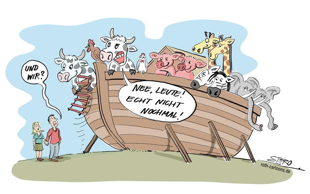 Cartoon-Karikatur-Comic-Arche Noah mit Tieren, die Menschen müssen da bleiben