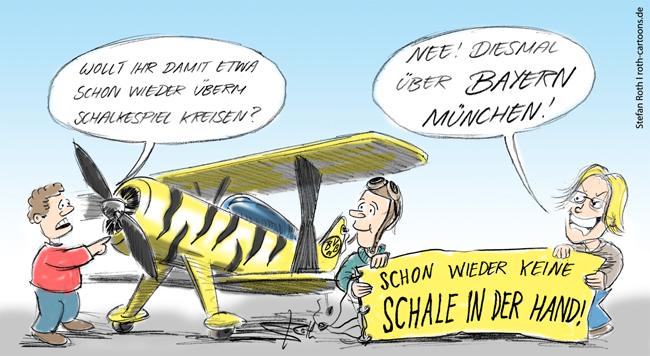 BVB-Flieger am Boden mit Banner: Wieder keine Schale in der Hand!