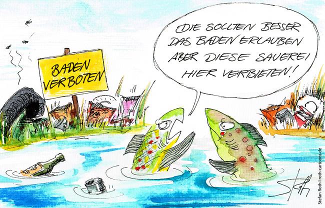 Fische diskutieren über ein Badeverbot