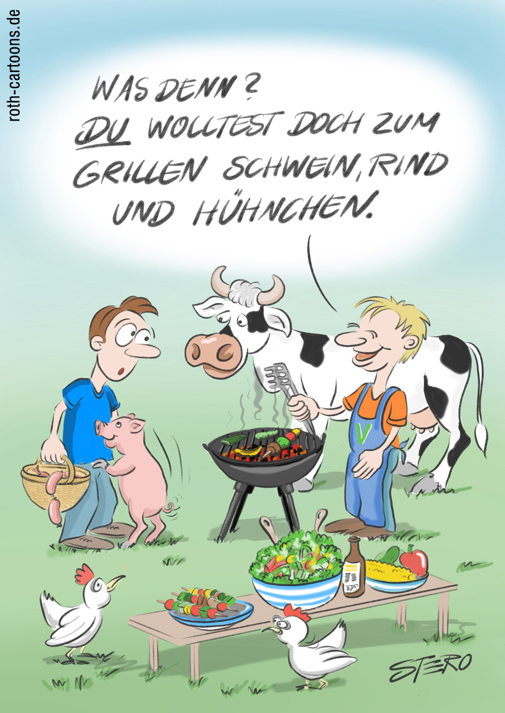 Cartoon-Karikatur-Comic zu vegan Grillen.
