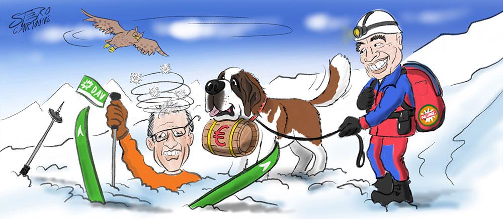Cartoon-Karikatur-Comic-Mann stürzt beim Schifahren und liegt im Schnee. Bergretter hilft.