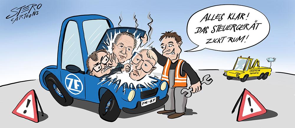 Cartoon-Karikatur-Comic-Vorstandsstreit in der ZF