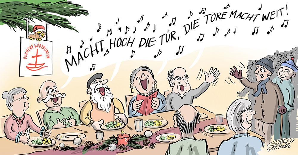 Cartoon-Karikatur-Comic-Senioren beim Seniorentreef an Weihnachten