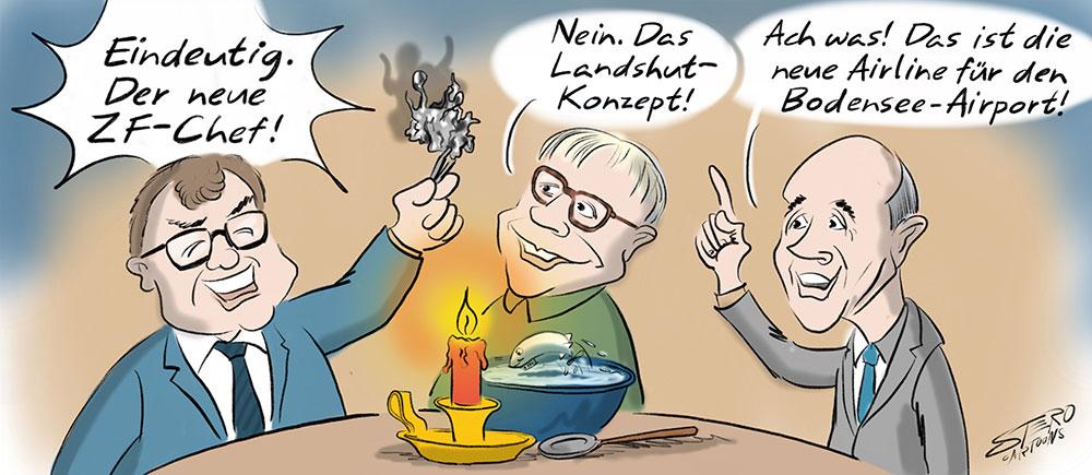 Cartoon-Karikatur-Comic-Bleigiessen