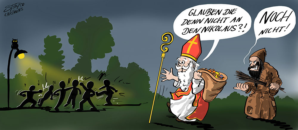 Cartoon-Karikatur-Comic-Nikolaus und Knecht Ruprecht