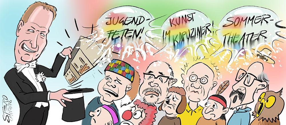 Cartoon-Karikatur-Comic-aus dem Hut gezaubert