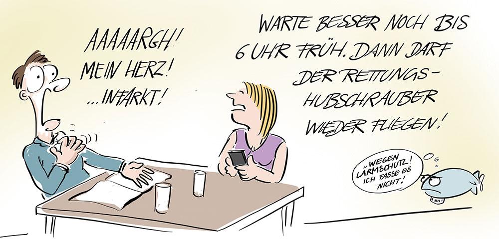 Cartoon-Karikatur-Comic-Nachtflugverbot des Rettungshubschraubers