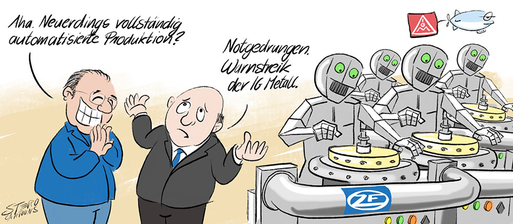Cartoon-Karikatur-Comic-Roboter am Fließband wegen Warnstreik der IG Metall