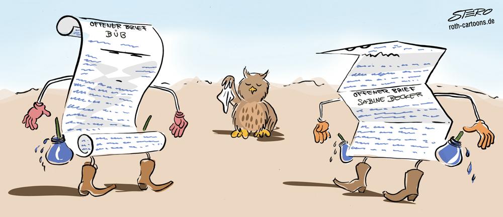 Cartoon-Karikatur-comic-briefduell-papierkrieg