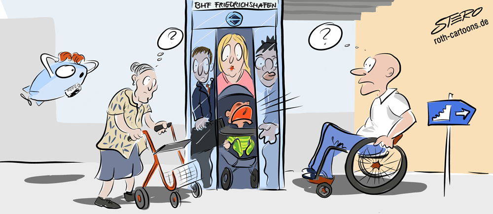 Cartoon barrierefreier Aufzug