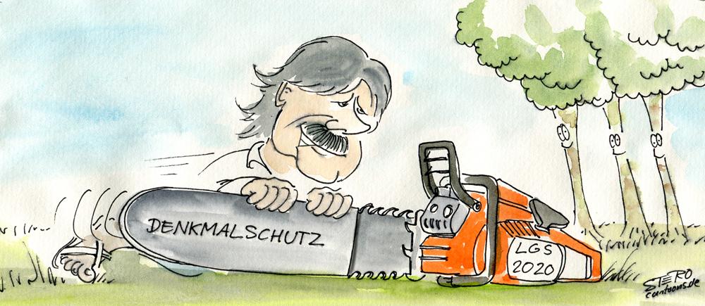 Karikatur Comic mit Motorsäge und Kettenschutz wegen geplanter Baumfällung zu Landesgartenschau Überlingen 2020