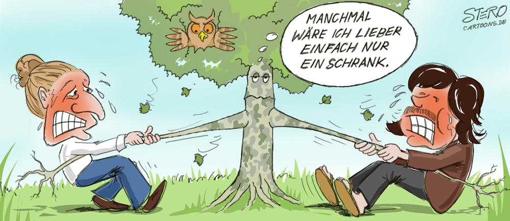 CArtoon Tauziehen um Baum