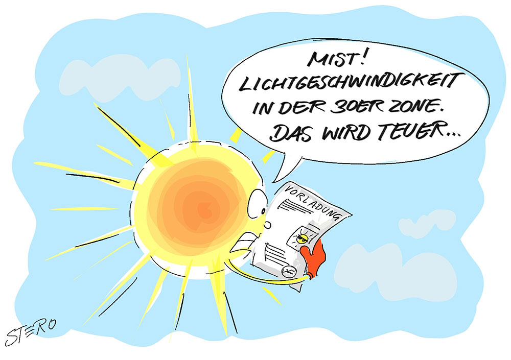 Sonne erhält einen Bußgeldbescheid wegen zu hoher Geschwindigkeit