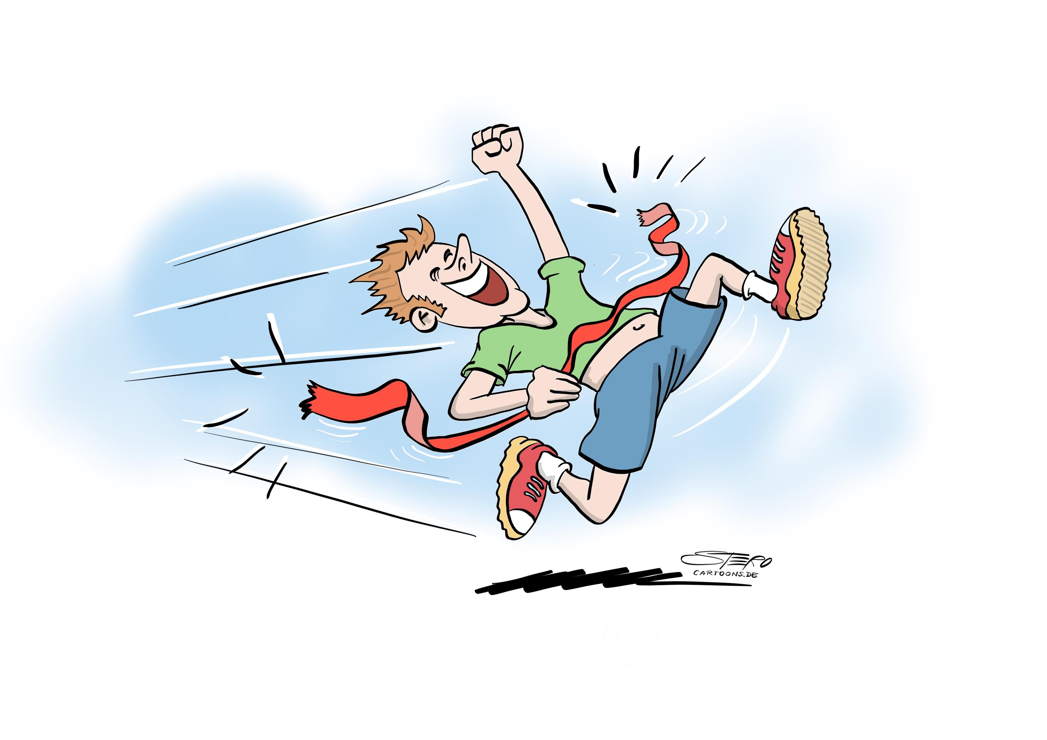 Cartoon: ein Sportler rennt durch die zielliniie. Das zieleinlaufband reisst.