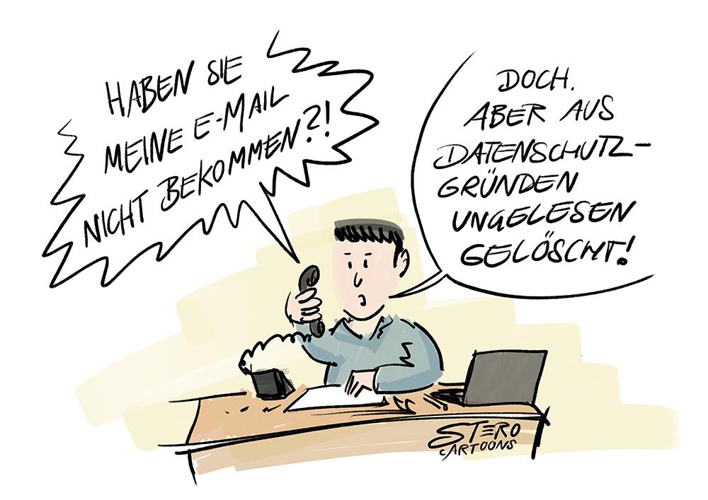 Cartoon - Mann im Büro am Telefon. E-Mail nicht bekommen.