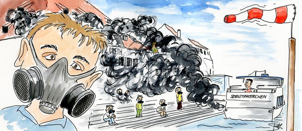Cartoon-Gasmaske wegen Smog
