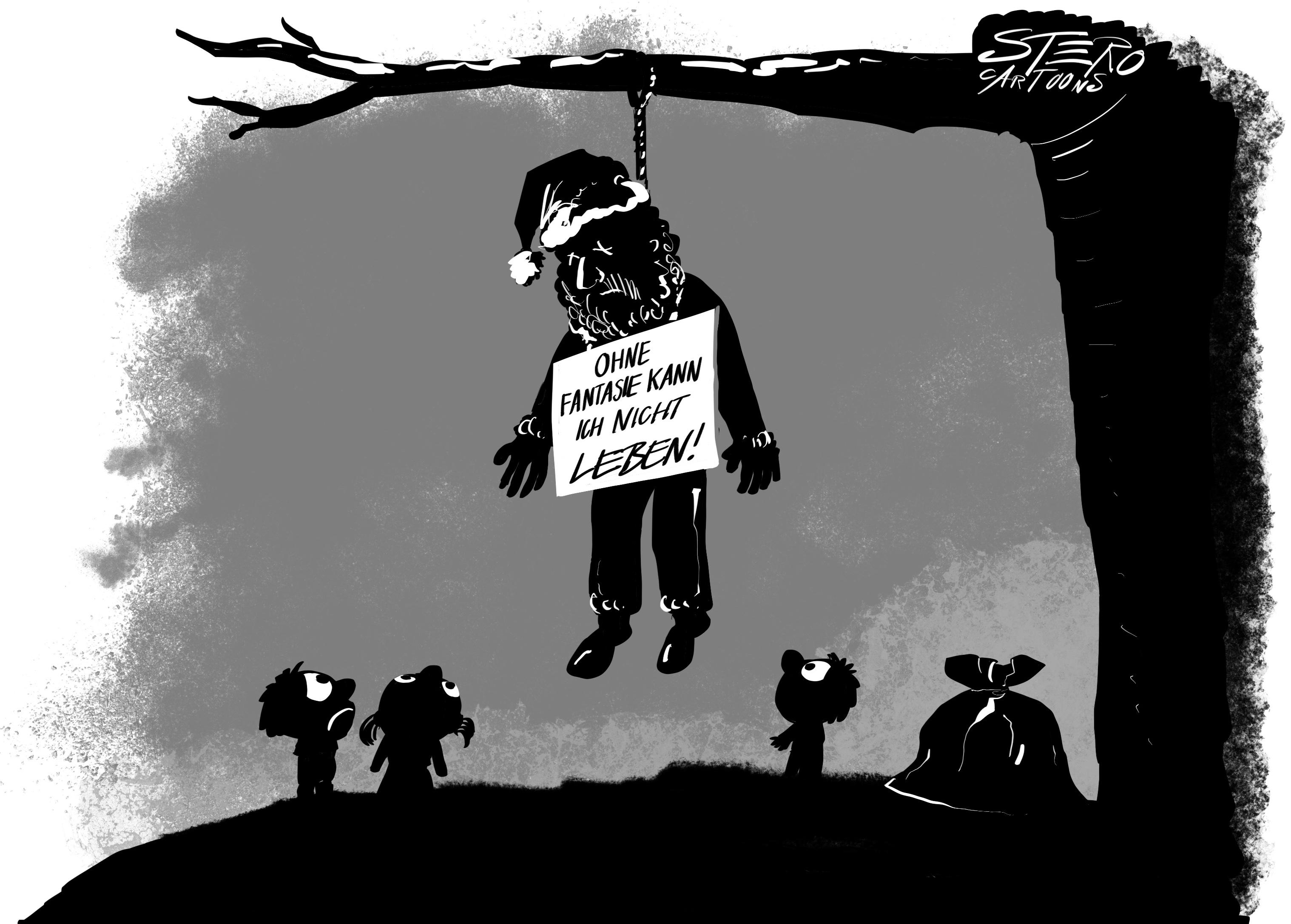 Cartoon. Es gibt den weihnachtsmann
