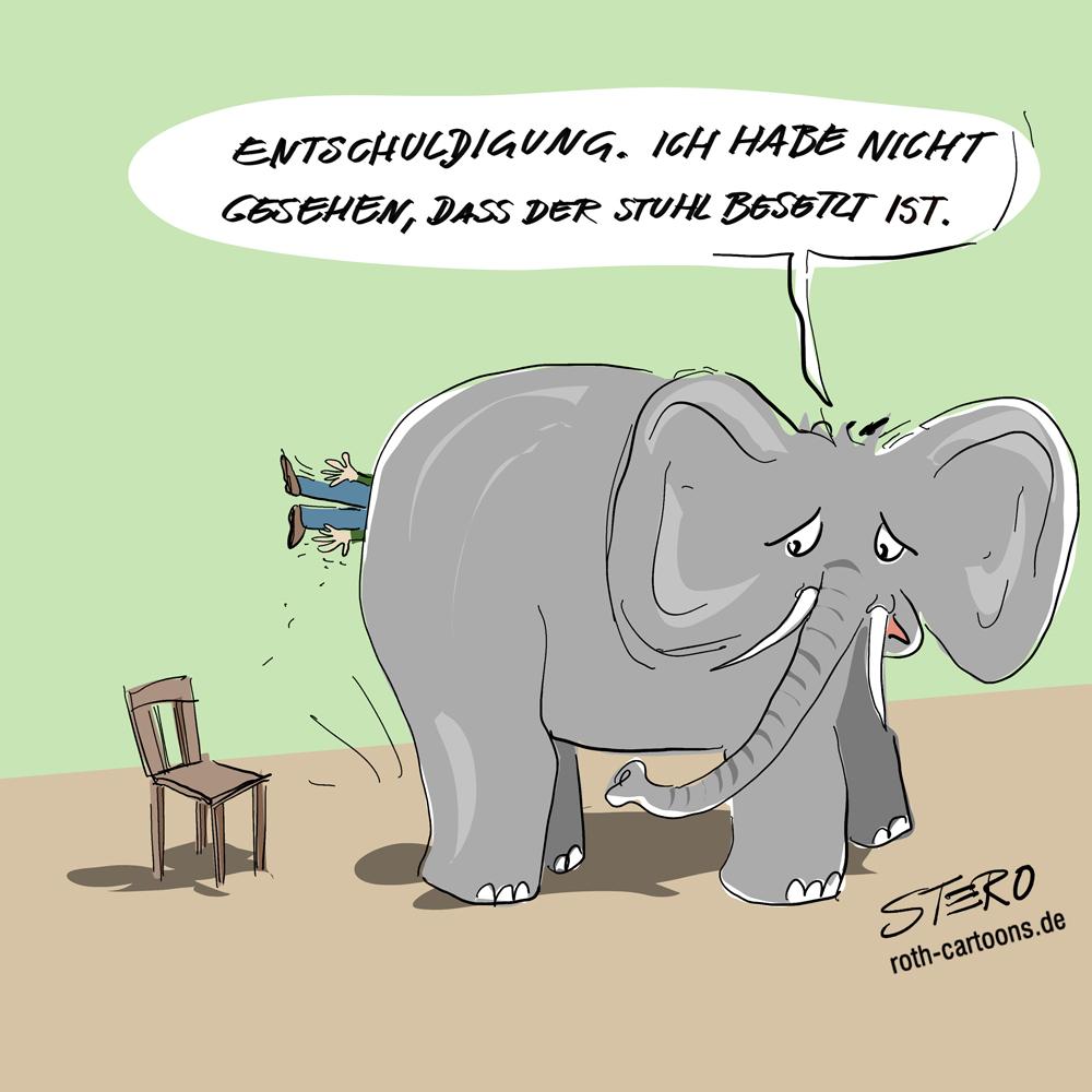 Cartoon: Elefant setzt sich auf Mensch