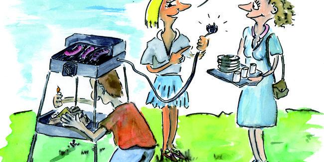 Cartoon/Karikatur: Elektrogrill - typisch Mann