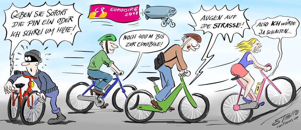 Cartoon-Karikatur-Comic zur EuroBike 2017 mit Smart-Bikes