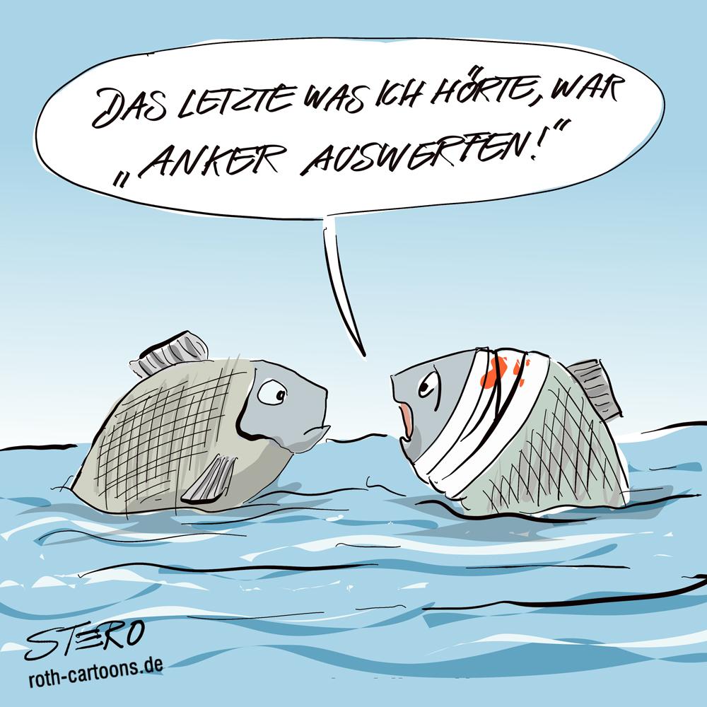 Cartoon: am Kopf verletzter Fisch