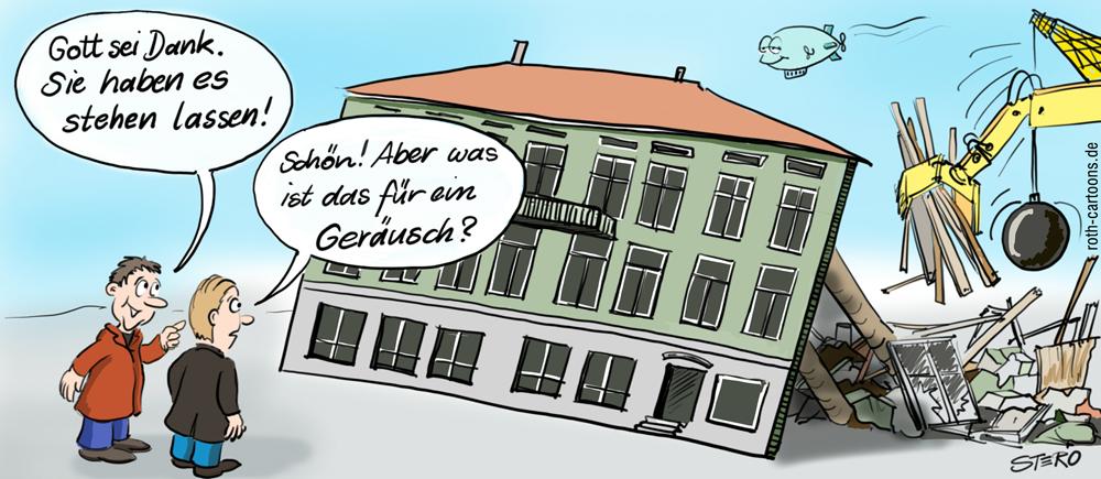 Cartoon einer historischen Fassade mit Abrissbirne und Abrissbager