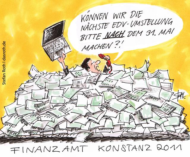 Cartoon-Karikatur Finanzamt Konstanz EDV-Umstellung