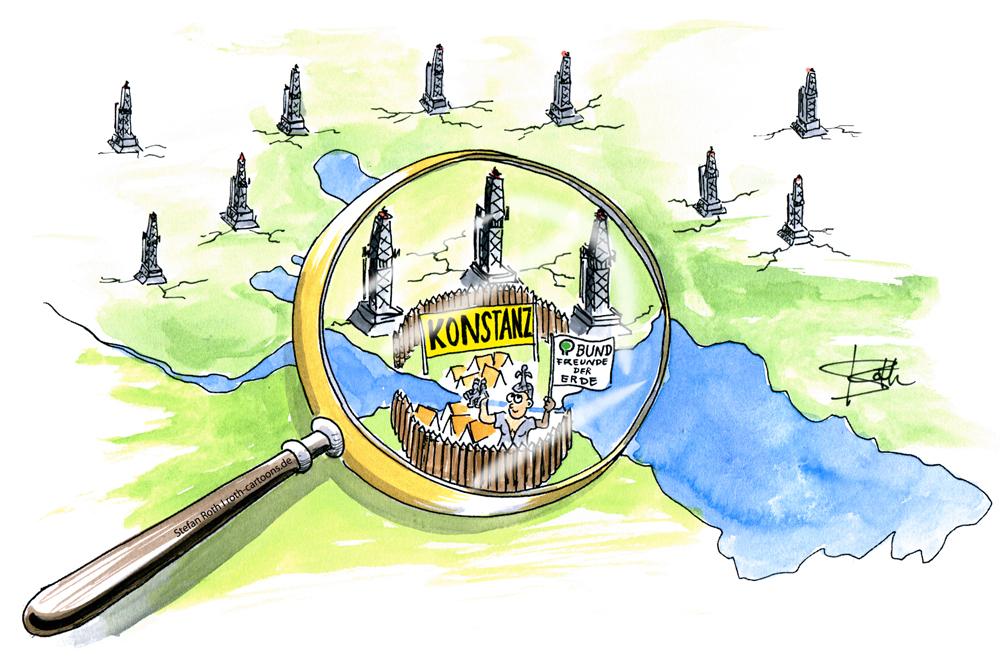 Karikatur auf Basis von Asterix Dorf gegen Fracking