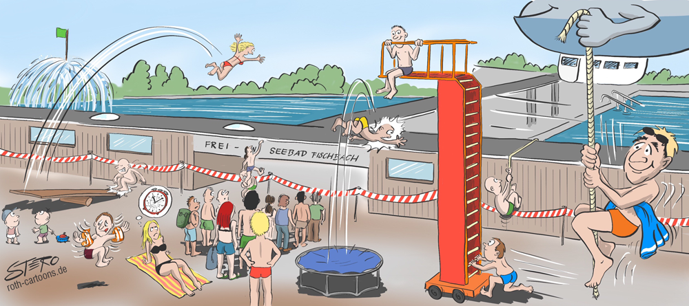 cartoon wimmelbild freibad