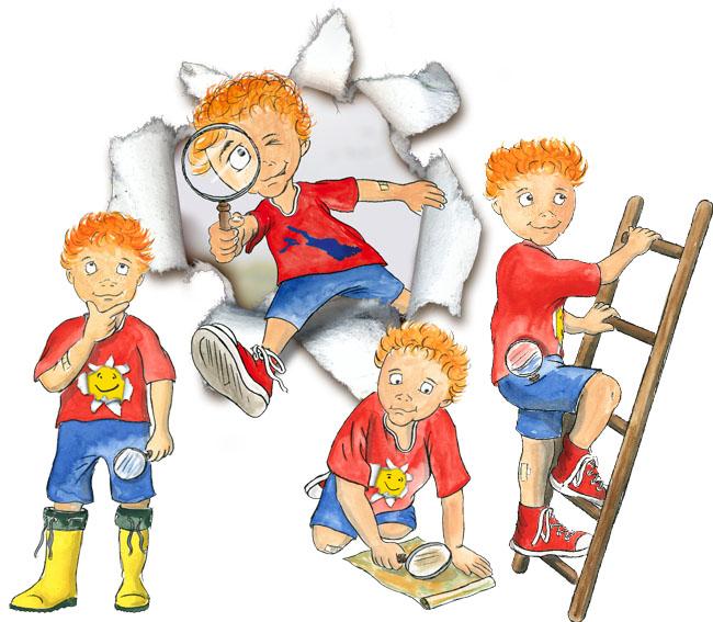 Illustration kleiner Junge Lasse Lupe