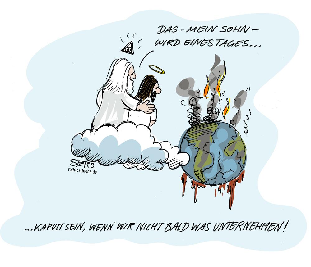Gott und Jesus schauen auf die kaputte Erde