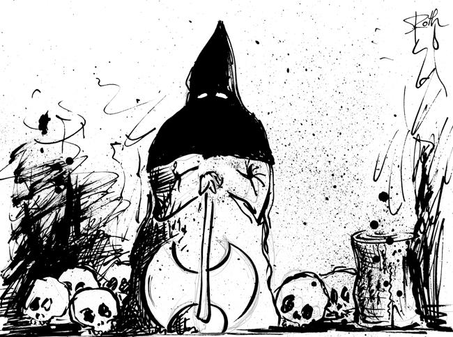 Henker, Spritztechnik, Tusche, Cartoon