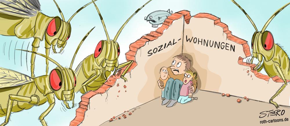 Cartoon zur Situation um Sozialwohnungen, die von Investitionsfirmen aufgekauft werden.