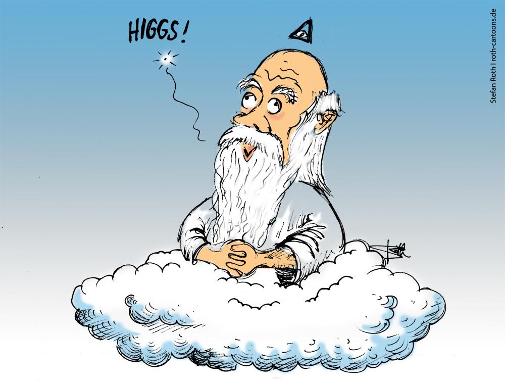 Cartoon Higgs-Teilchen-Gottesteilchen