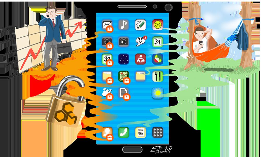 Illustration Smartphone mit geschäftlichem und privatem Bereich
