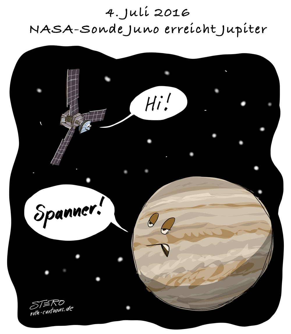 Cartoon: NASA-Sonde Juno erreicht Jupiter