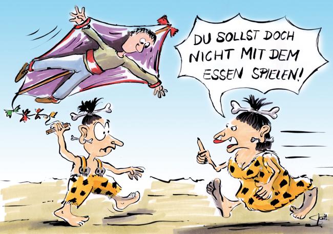 Cartoon/Karikatur: Kannibalen beim Drachensteigen