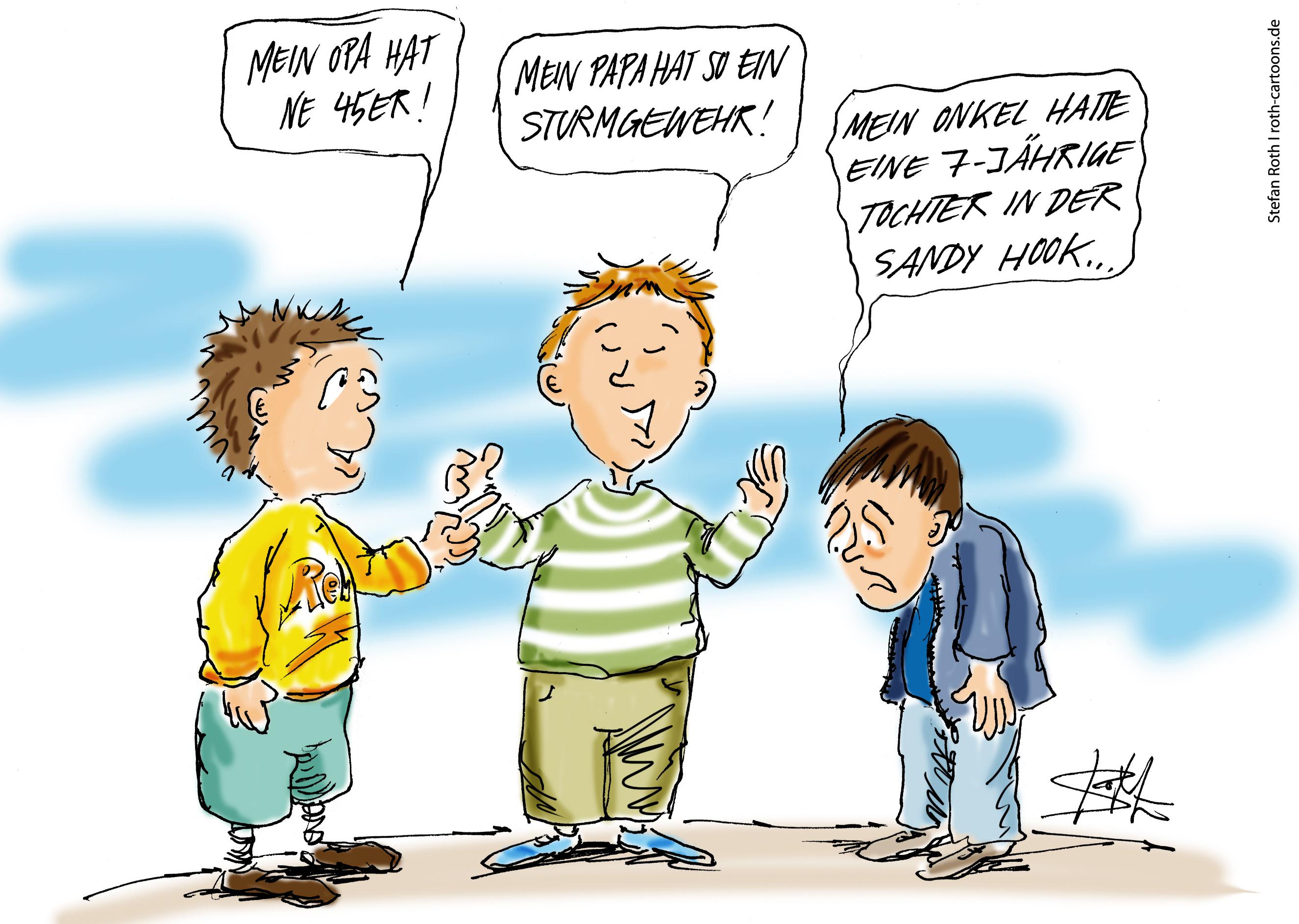 Karikatur zu Amoklauf in Newtown