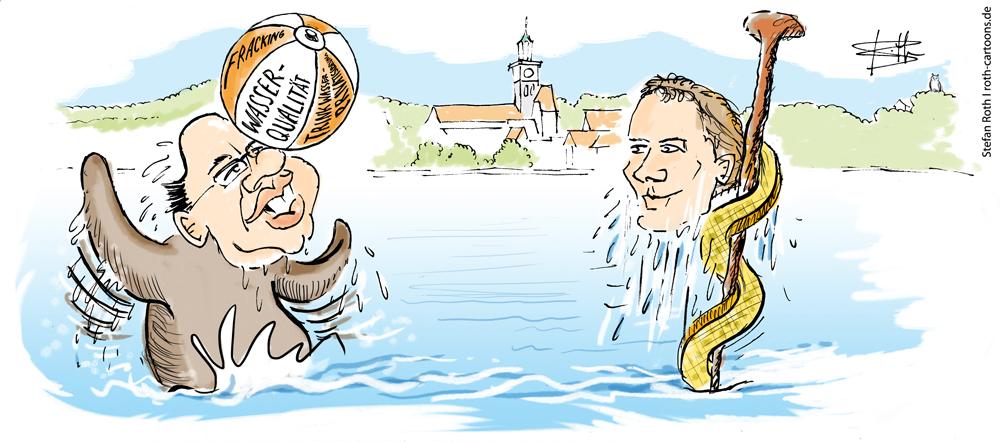 Altmeier als Seelöwe und Daniel Bahr als Äskulap