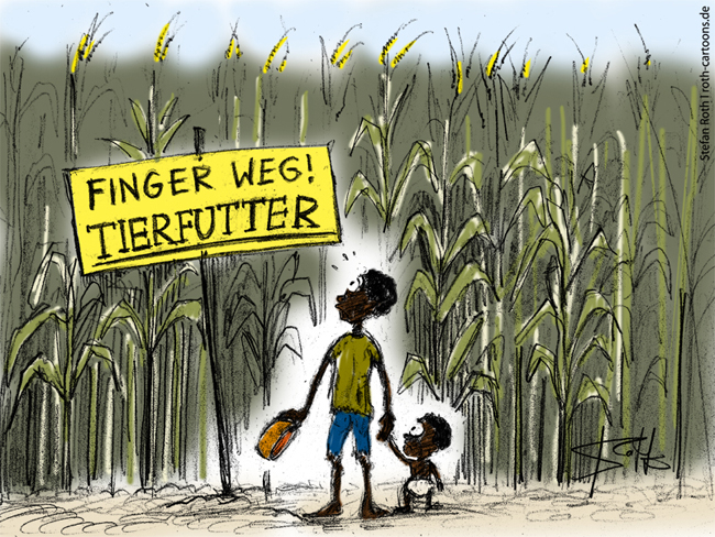 Cartoon,Karikatur: Mais als Tierfutter, Futtermais, Hungersnot, Dritte WElt