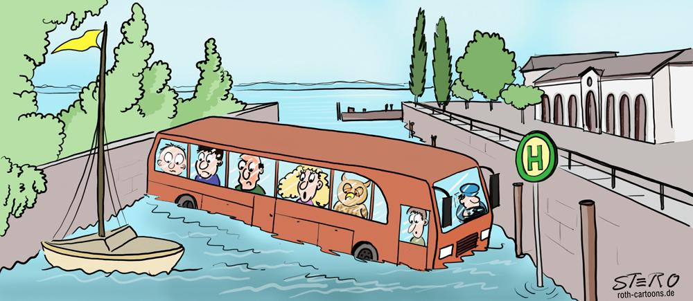 Cartoon Bushaltestelle mit Reisebus im Wasser
