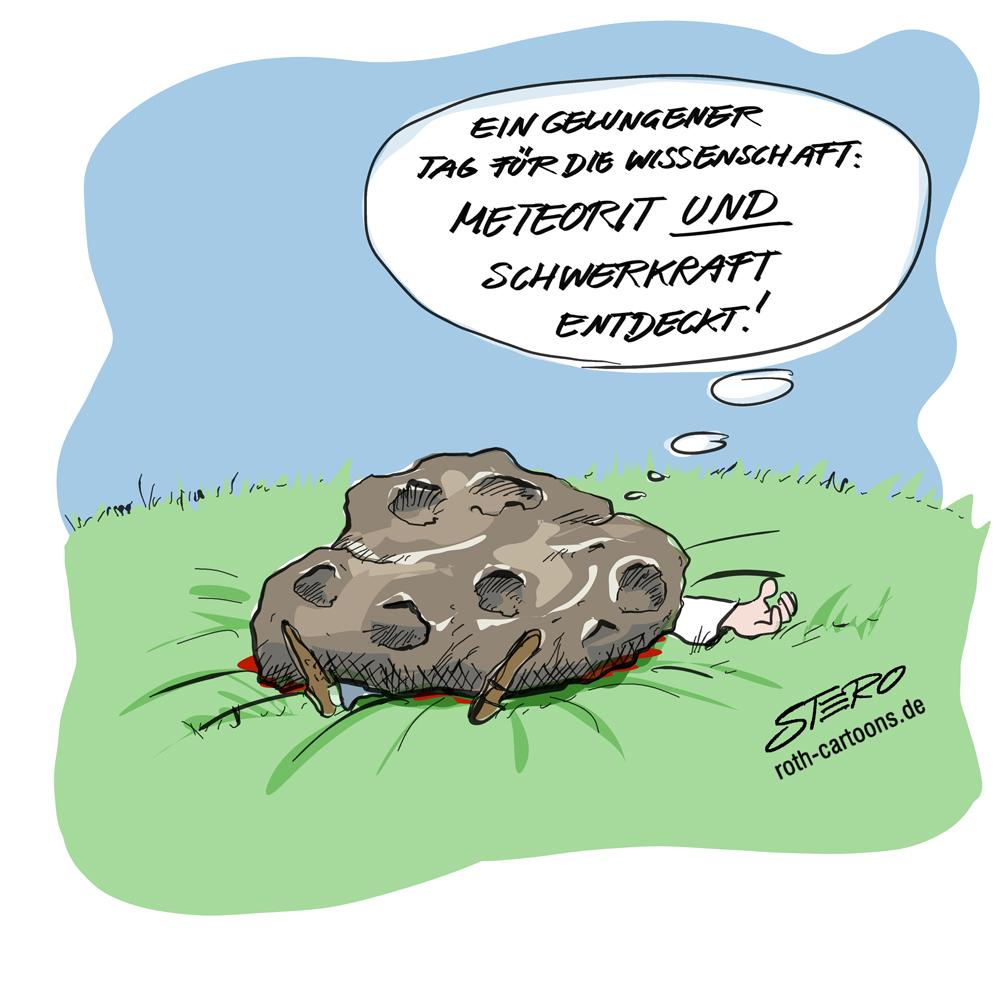 Cartoon. Wissenschaftler von Meteorit erschlagen
