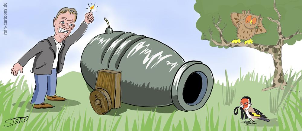 Cartoon-Karikatur-Comic mit kanonen auf Spatzen schießen